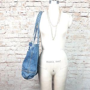 AMERICAN EAGLE|NWT Distressed Blue Denim Tote Bag